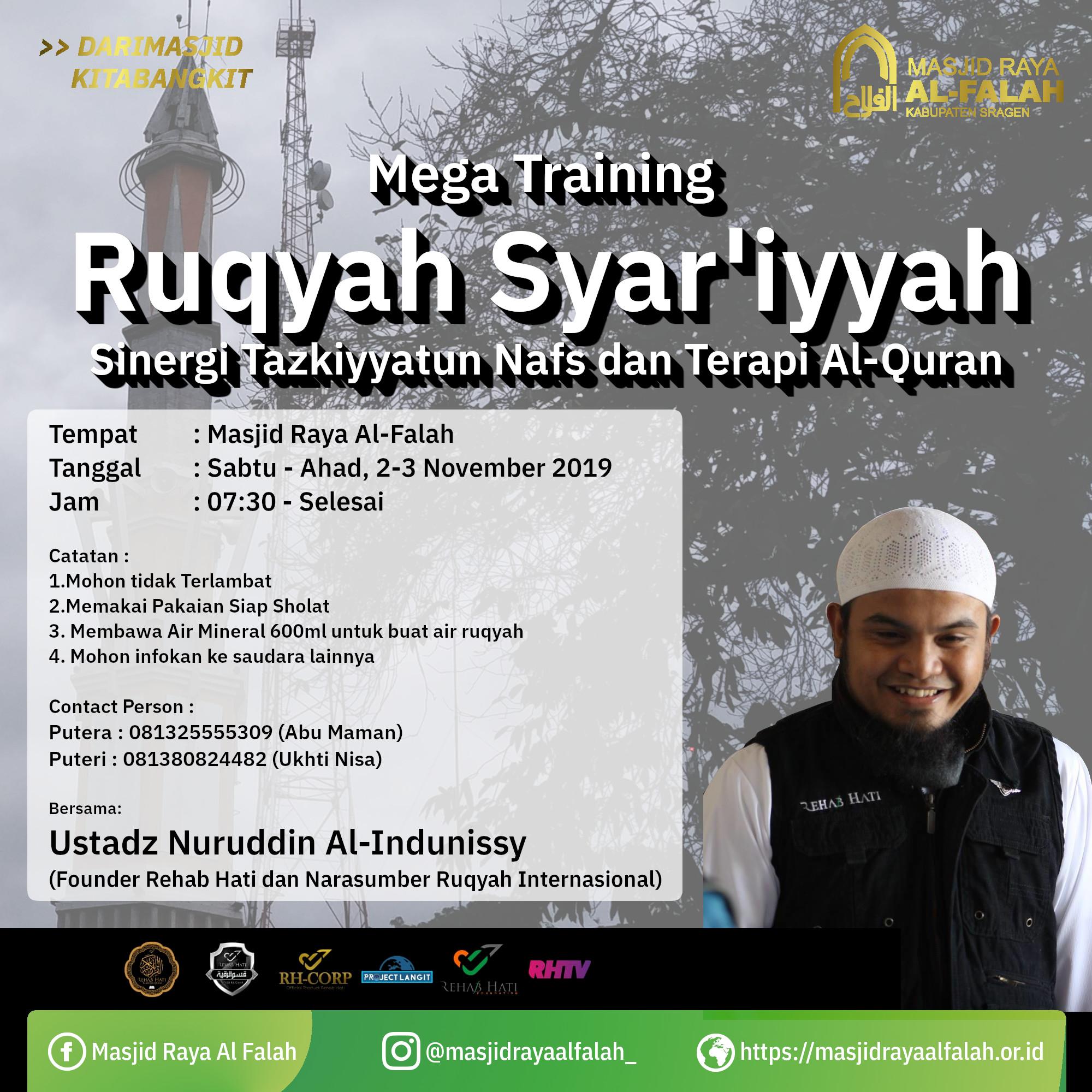 Training Ruqyah Syar'iyyah. Kali ini masih bersama Ustadz Nuruddin Al-Indunissy